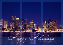 Boston Skyline Regional Holiday Cards